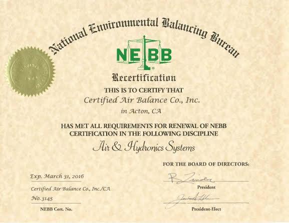 Certified Air Balance Co., Inc.